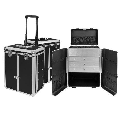 Exklusiver Aluminium Sortimentskoffer Trolley Tackle box Pilotenkoffer Präsentationskoffer in Schwarz als Friseurkoffer bzw. Kosmetikkoffer Nähkoffer Bastelkoffer Produktpräsentationen