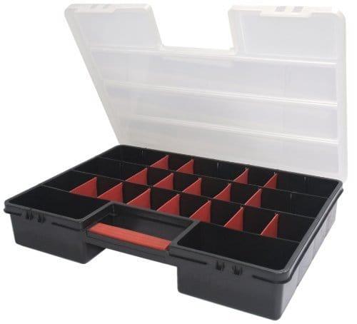 XL Sortimentskasten Organizer mit 21 variablen Einteilern und großem Stauraum von Kreher, Maße 46 x 32 x 8 cm